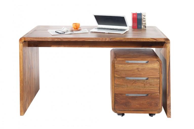 Design Schreibtisch CUBE 150cm Sheesham Palisander Holz Stone Finish