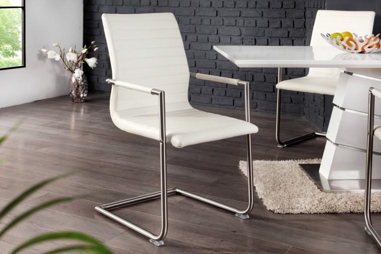 Hochwertiger Echt Edelstahl Freischwinger Stuhl RICHMOND weiß mit Armlehnen und eleganter Designsteppung
