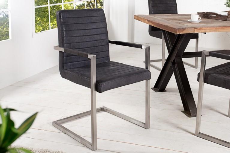 Hochwertiger Echt Edelstahl Freischwinger Stuhl EMPIRE antique grau mit Armlehnen und eleganter Designsteppung