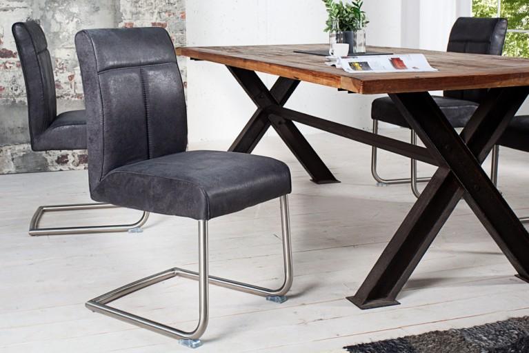 Hochwertiger Edelstahl Freischwinger Stuhl BIG GEORGE antique grau mit optimalem Sitzkomfort durch hohen Sitzpolsteraufbau