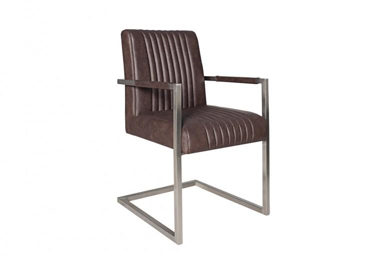 Hochwertiger Echt Edelstahl Freischwinger Stuhl BIG ASTON dark coffee mit hohem Sitzpolsteraufbau im Roadster Sitz Retro Design