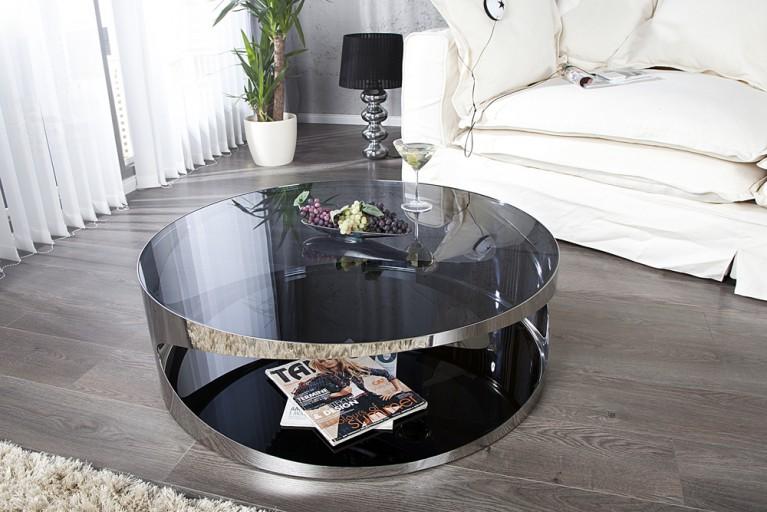 Moderner Couchtisch PROMETHEUS 80cm aus Opalglas Edelstahl rund