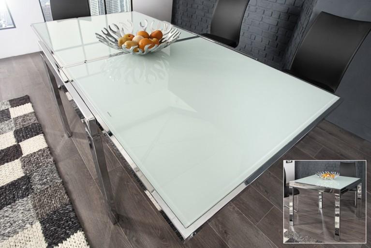 Ausziehbarer Esstisch MODULAR Opalglas 180cm weiß mit Butterfly-Auszug und Chromgestell