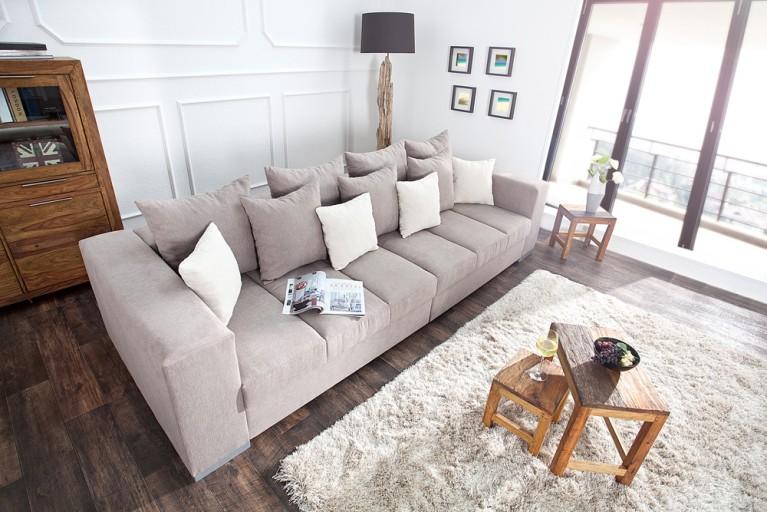 Design XXL Sofa BIG SOFA ISLAND greige inkl. Kissen