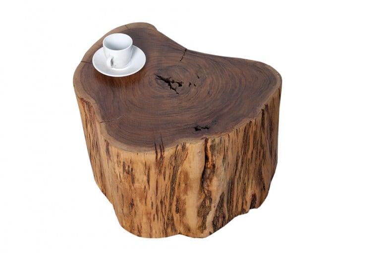 Seltener Massivholz Couchtisch GOA Baumstamm Hocker aus Akazie