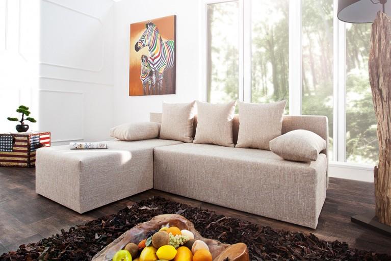 Design Ecksofa CUBUS Strukturstoff beige mit Schlaffunktion und Bettkasten