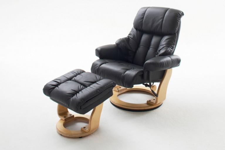 Relax-Sessel mit Hocker CALGARY ECHTLEDER ORIGINAL MCA schwarz Gestell naturfarben