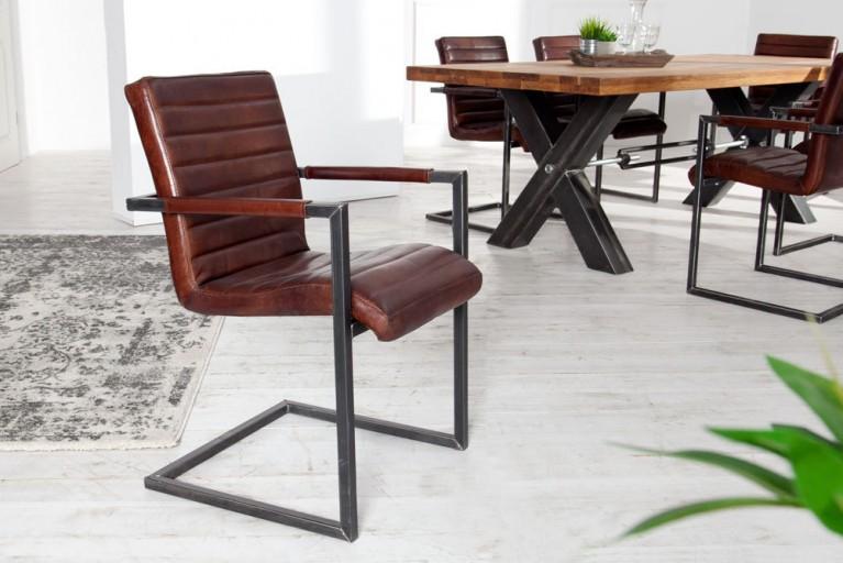 Design Stuhl RIDER aus echtem Sattelleder coffee made in EU