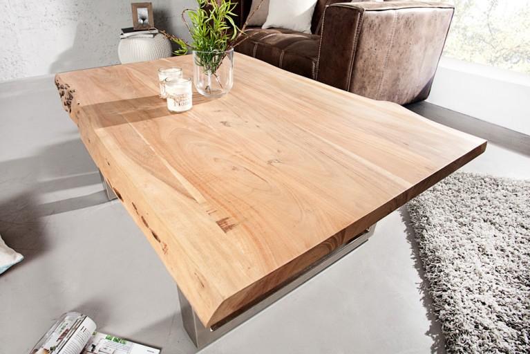 Massiver Baumstamm Couchtisch MAMMUT 120cm Akazie Massivholz verchromtes Kufengestell