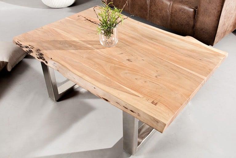 Massiver Baumstamm Couchtisch MAMMUT 120cm Akazie Massivholz Industrial Chic Tisch Kufengestell  mit 3,5 cm dicker Tischplatte