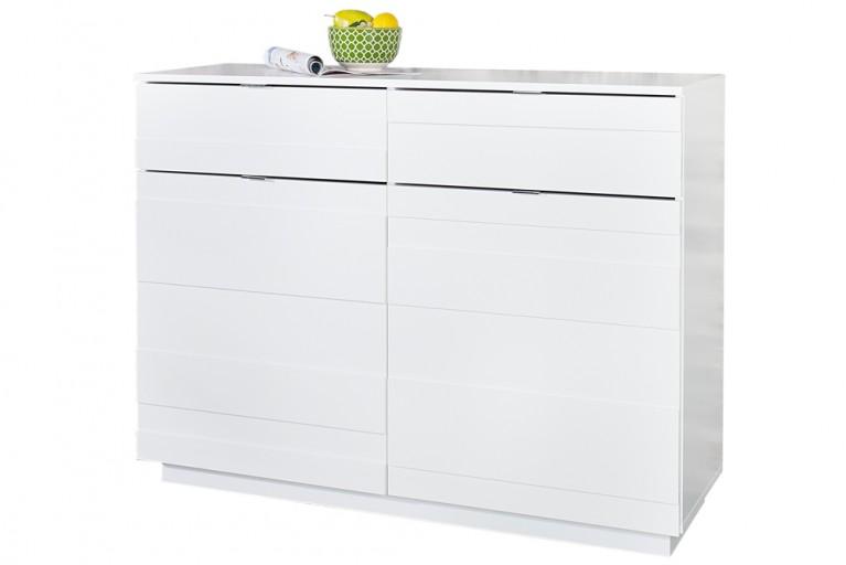 Design Kommode RELIEF 110cm weiß Hochglanzfront