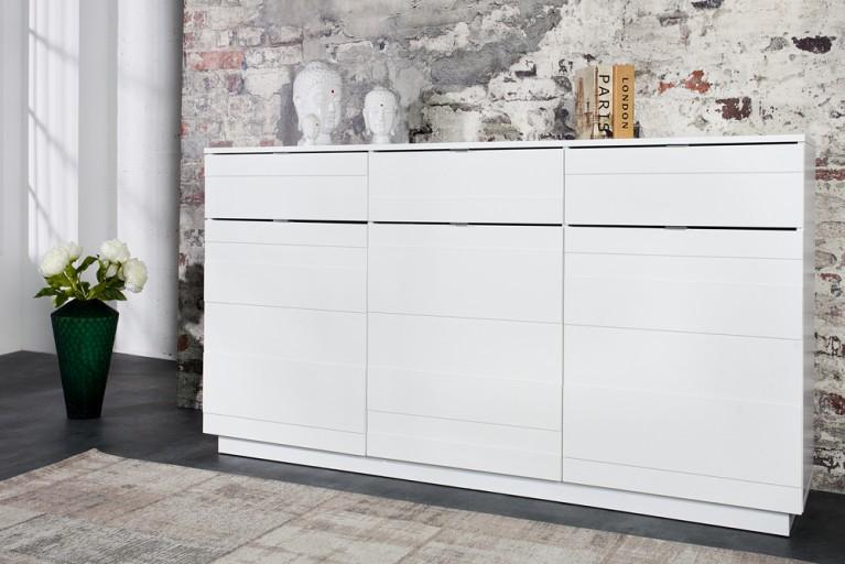 Design Sideboard RELIEF 165cm weiß Hochglanzfront