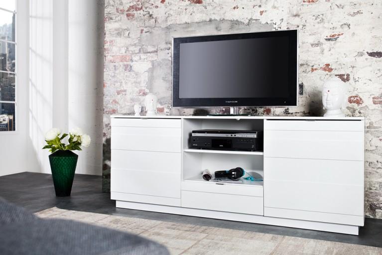 Design TV-Lowboard RELIEF 165cm weiß Hochglanzfront