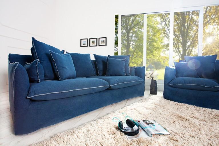 Großes Hussensofa HEAVEN blau stone washed 3er Sofa 215cm