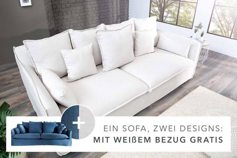 Großes Hussensofa HEAVEN blau stone washed / weiß 3er Sofa 215cm