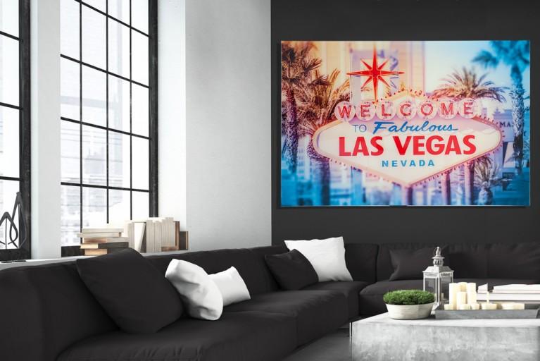 Hochwertiger Kunstdruck LAS VEGAS 120x80cm Wandbild aus Glas