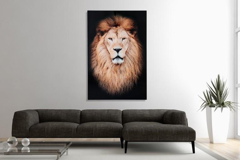 Eindrucksvoller Kunstdruck MUFASA 120x80cm Wandbild aus Glas Löwe