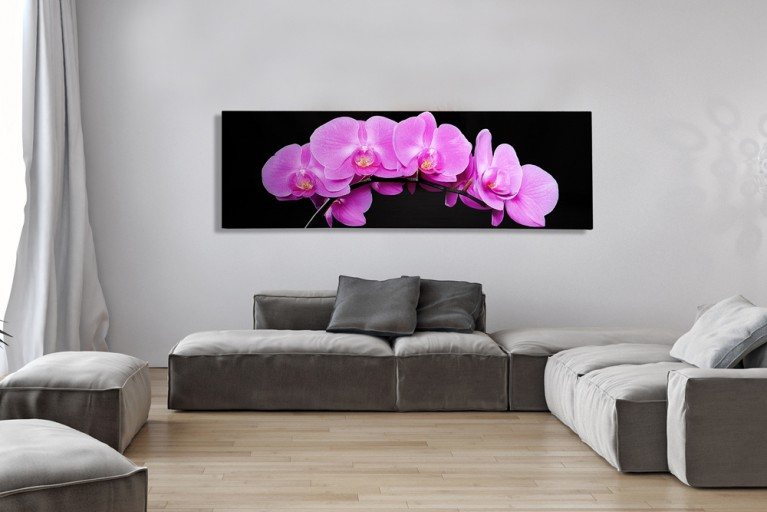 Beeindruckender Kunstdruck ORCHIDEE pink 140x45cm Wandbild aus Glas