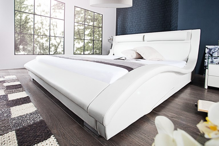 Exklusives Design Doppelbett MANHATTAN 180x200 cm Polsterbett weiß