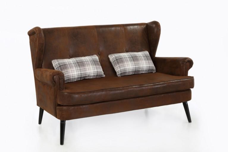 Design Sofa WIEHL Antik Look braun Esszimmerbank mit Lehne Dining Couch