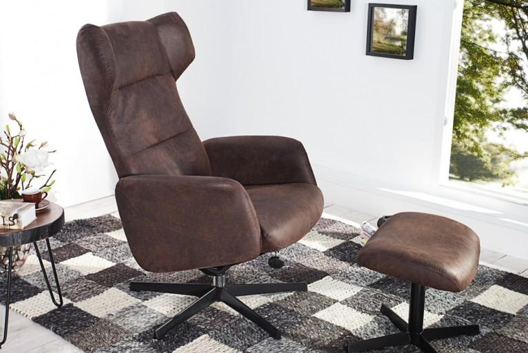 Design Relaxsessel CLASSICO antik coffee mit Hocker Vintage