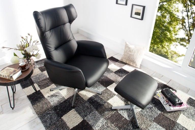 Design Relaxsessel CLASSICO schwarz mit Hocker