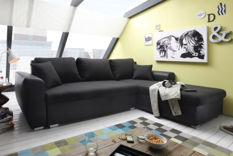 Ecksofa SPENCER schwarz universell aufbaubar Bettkasten und Gästebettfunktion