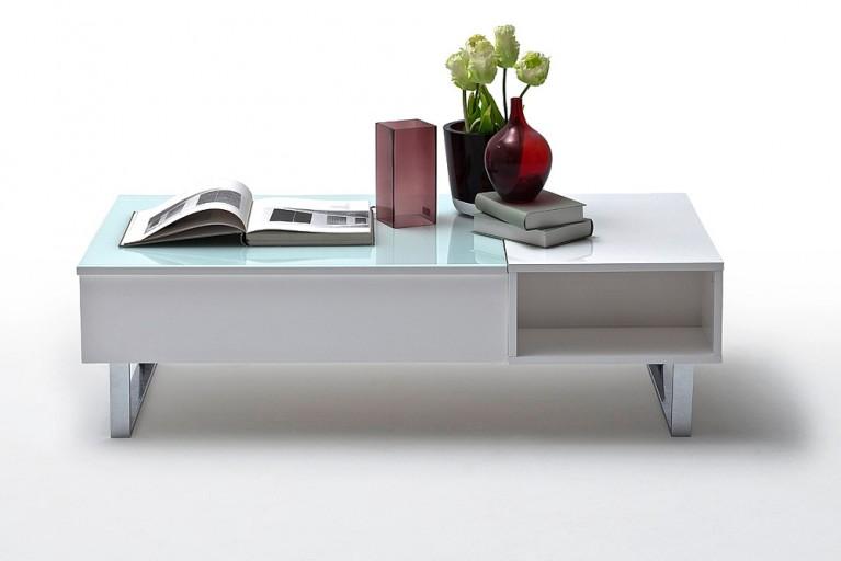 Design Couchtisch JOE ORIGINAL MCA 120cm Hochglanz weiß ausfahrbare Tischplatte und Staufach
