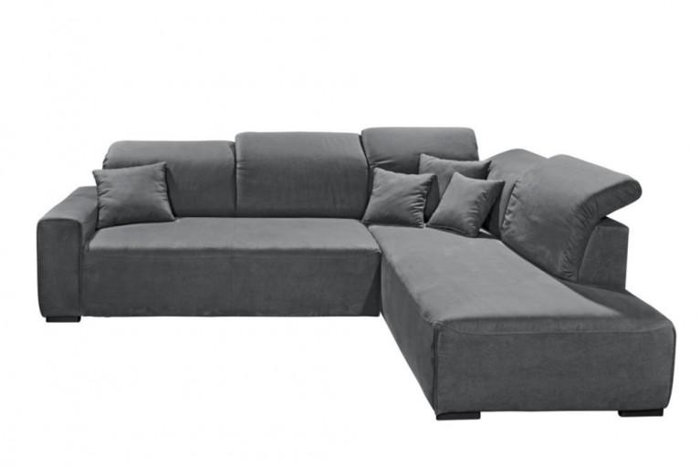 Hochwertiges Design Ecksofa SEATTLE anthrazit OT rechts Gästebettfunktion