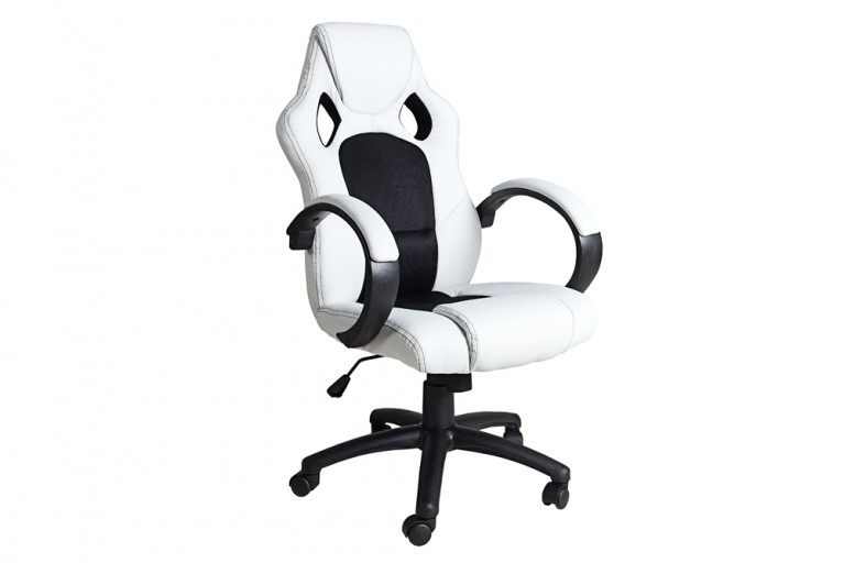 Exklusiver Design Bürodrehstuhl RICKY ORIGINAL MCA weiß schwarz im Sportsitz Design