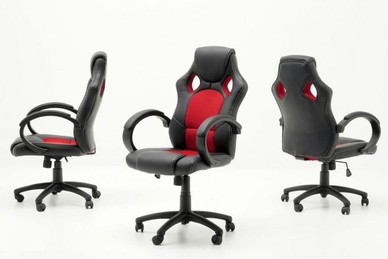 Exklusiver Design Chefsessel Bürostuhl RICKY ORIGINAL MCA schwarz rubinrot
