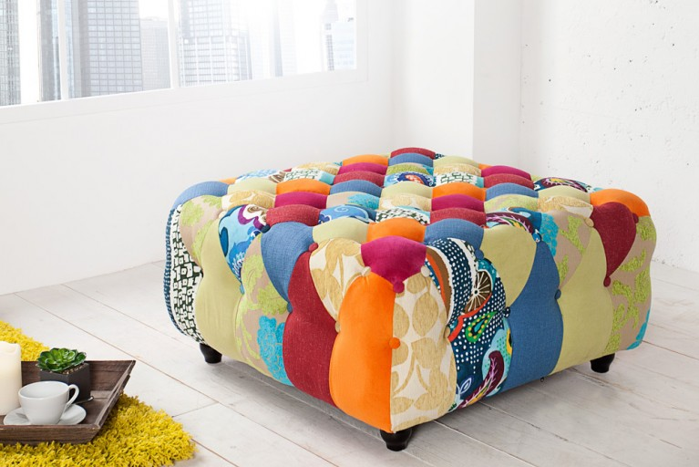 Design Chesterfield Hocker Patchwork PARADISE bunt