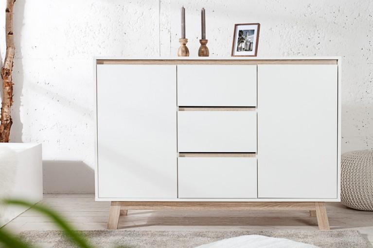Moderne Design Kommode STOCKHOLM Weiß Highboard mit wendbarer Front Sonoma Eiche Sideboard