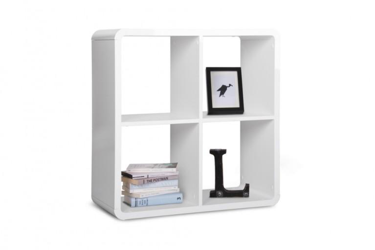 Design Regal SQUARE 70cm Weiß mit abgerundeten Ecken Hochglanz Raumteiler