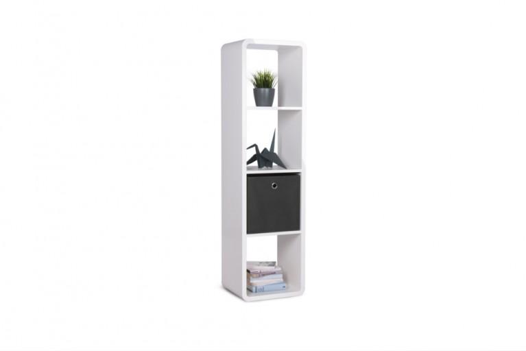 Design Regal SQUARE 140cm hoch Weiß mit abgerundeten Ecken Hochglanz Raumteiler