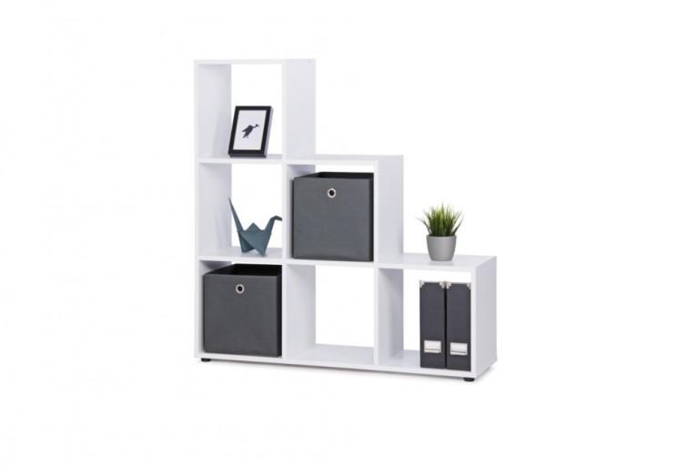 Exklusives Stufenregal CLEVER 115cm Weiß Raumteiler