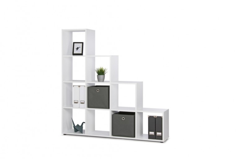 Design Stufenregal CLEVER 155cm Weiß Raumteiler