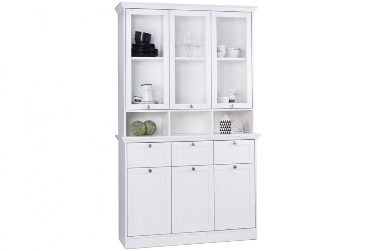 Klassischer Design Buffet Vitrinenschrank PROVENCE 120cm Weiß im Landhausstil