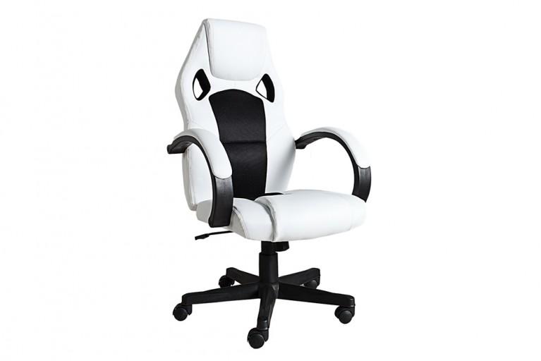 Exklusiver Design Chefsessel RACE weiß schwarz Bürostuhl