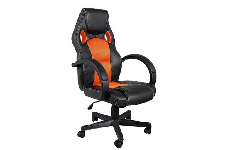 Exklusiver Design Chefsessel RACE schwarz orange Bürostuhl