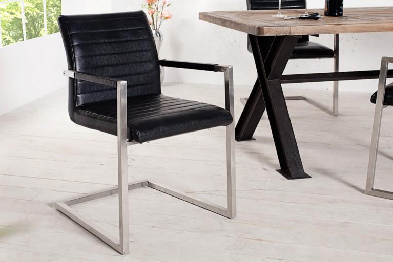 Freischwinger Stuhl EMPIRE antik schwarz mit gepolsterten Armlehnen und und eleganter Designsteppung