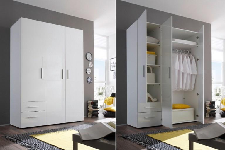Design Kleiderschrank NASHVILLE 135cm weiß Hochglanz Garderobenschrank mit Schubladen