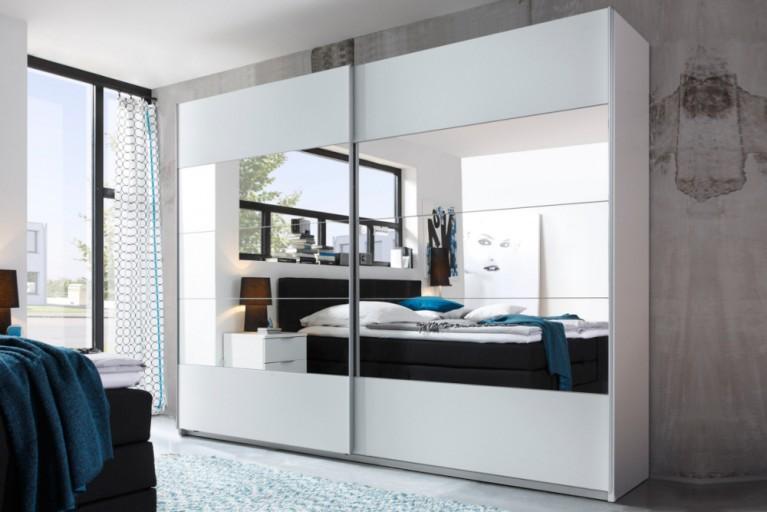 Design Schwebetürenschrank QUEENS 270cm weiss mit Spiegel Kleiderschrank