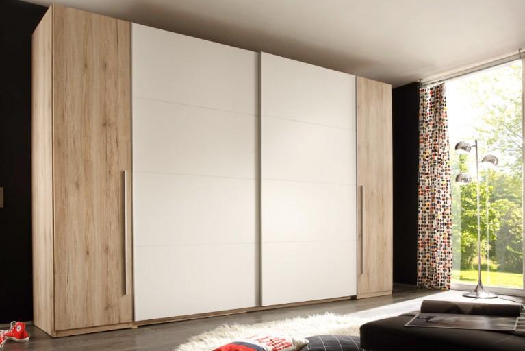 Großer Design Schwebetürenschrank BROOKLYN 315 cm Weiß Eiche San Remo Kleiderschrank