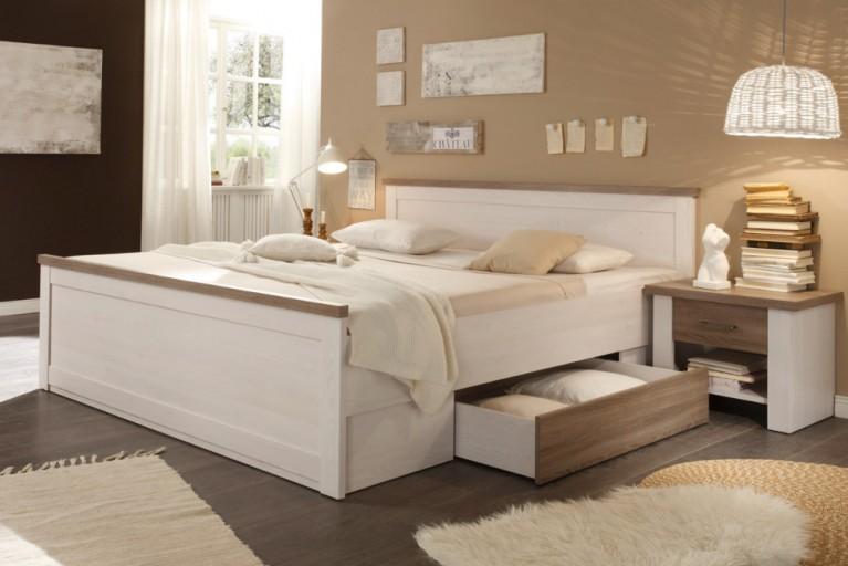 Klassisches Design Doppelbett AMSTERDAM 180x200cm Pinie Weiß Eiche Trüffel Optik im Landhausstil inkl. 2 Nachtkommoden