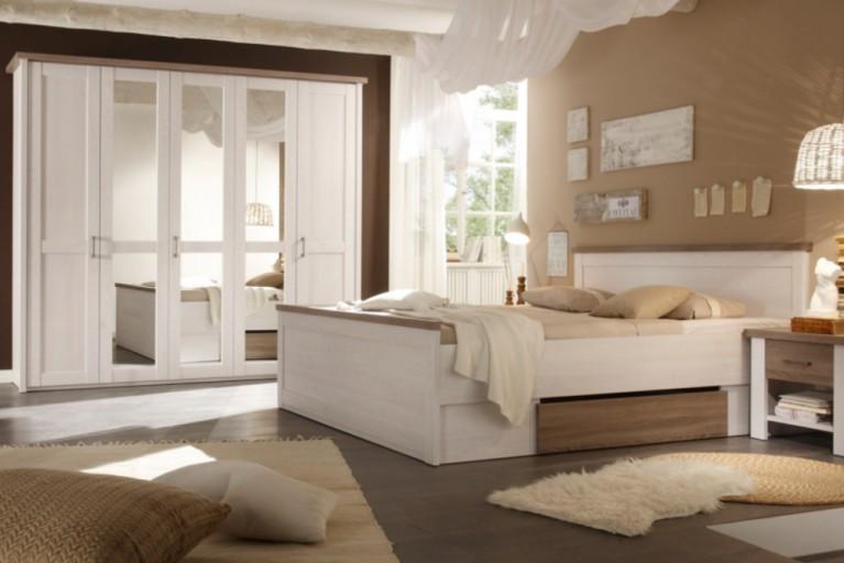 Exklusive Schlafzimmerkombination AMSTERDAM 4tlg. Pinie Weiß Eiche Trüffel Optik Bett mit Nachtkommoden und Kleiderschrank