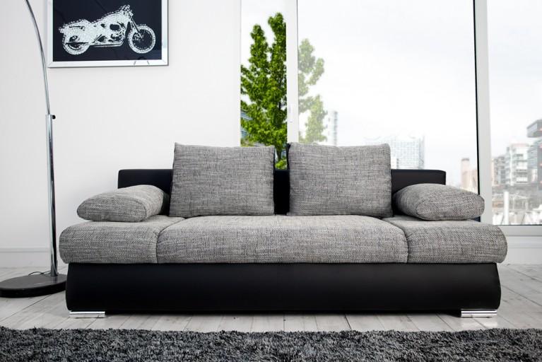 Stylisches Design Schlafsofa ORLANDO grau-schwarz Strukturstoff Federkern mit Bettkasten