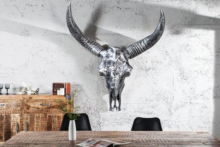 Monumentaler Longhorn Skull EL TORO XXL 135cm silber antik Büffelschädel Geweih Wanddeko