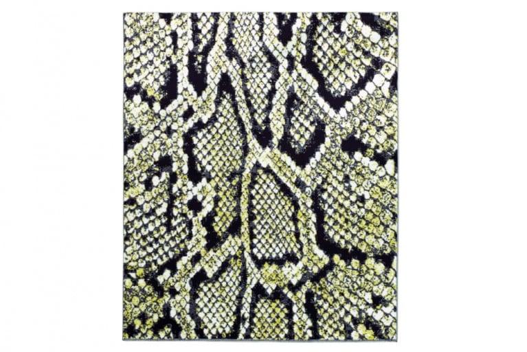 Einzigartiger Design Teppich ANACONDA 160x225cm weiß schwarz grün