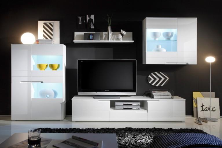 Design Wohnwand SPICE 320cm weiß Hochglanzfront inkl. Beleuchtung